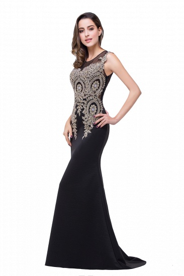 BMbridal Black Mermaid Long Prom Dress With Lace Appliques_11