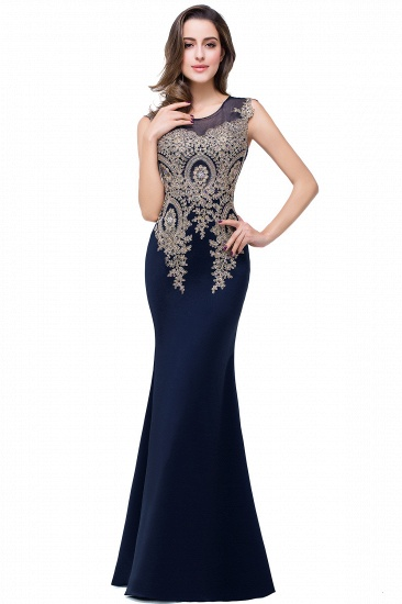 BMbridal Black Mermaid Long Prom Dress With Lace Appliques_5