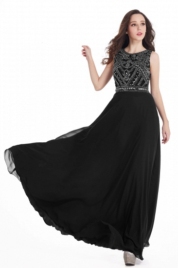 Gorgeous Sleeveless Crystal Long Prom Dress Chiffon Evening Gowns Online_15