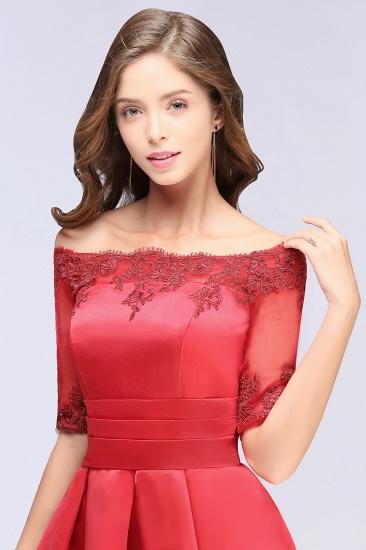 BMbridal Chic Half Sleeve Lace-up Off-shoulder Lace Appliques Short Prom Dress_8