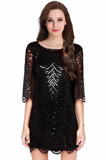 BMbridal Black Champagne Sheath Long Sleeve Short Cocktailk Dress_2