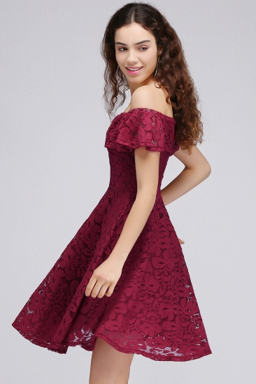 BMbridal A-Line Off-the-shoulder Lace Burgundy Homecoming Dress_6