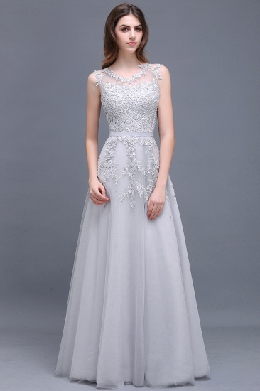 BMbridal A-line Floor-length Tulle Prom Dress with Appliques_8