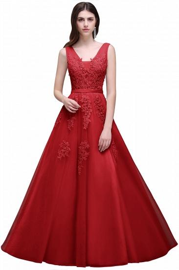 BMbridal V-Neck Sleeveless Lace Appliques Bridesmaid Dress_5