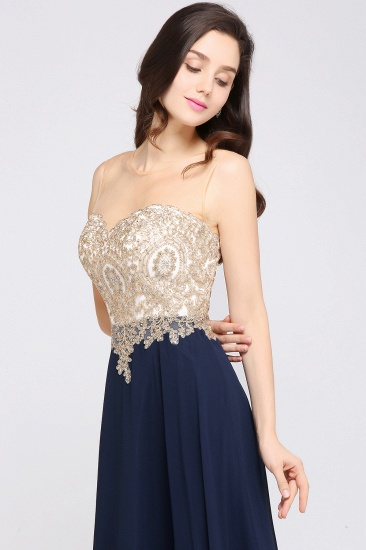 BMbridal Sheer Tulle A-line Chiffon Beads Lace Appliques Sleeveless Long Evening Dress_8