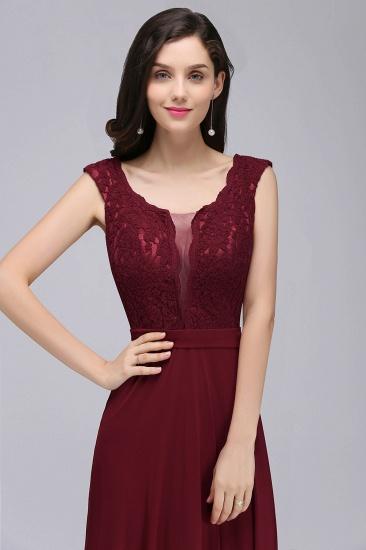 BMbridal Elegant Lace A-line Long Burgundy Prom Dress_12