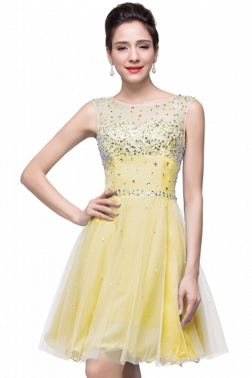BMbridal Open Back Sleeveless Chiffon Homecoming Dress Crystal Beads Tulle Short Prom Dress_4
