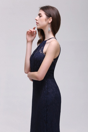 BMbridal Pretty Floor length Navy blue Halter Lace Prom Dress_11