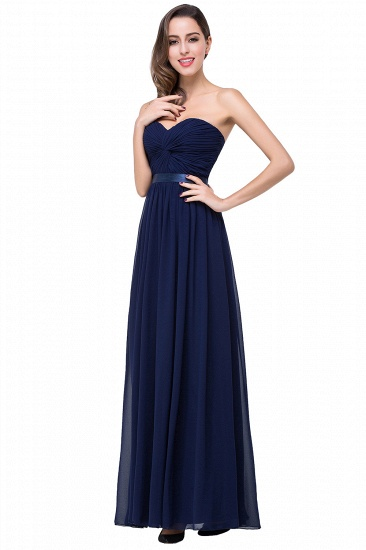 BMbridal Affordable Chiffon Strapless Navy Bridesmaid Dress with Ruffle In Stock_7