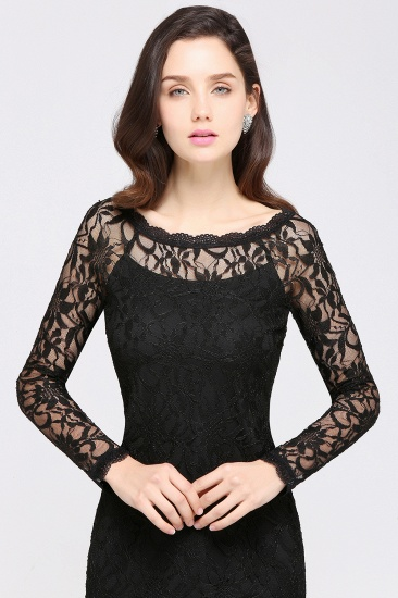 BMbridal Sexy Black Lace Long Sleeves Mermaid Prom Dress_12