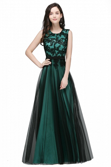 BMbridal Pretty Sleeveless Black Lace Tulle Floor Length Formal Evening Dress with Sash_3