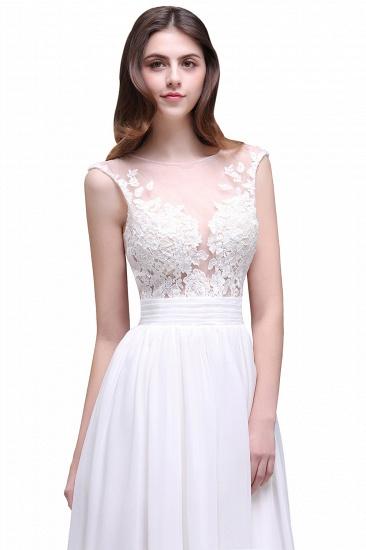 BMbridal Elegant White Sheer Lace Chiffon Beach Wedding Dress_5