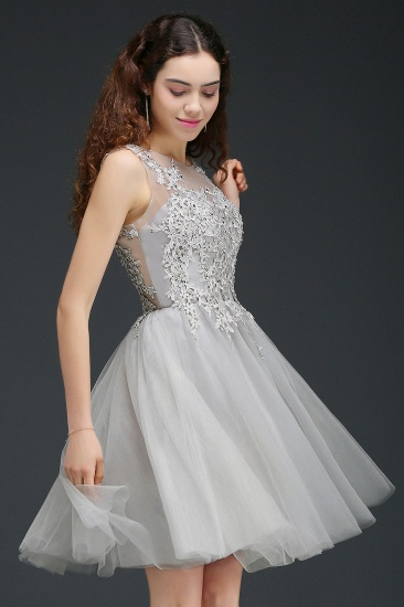 BMbridal Newest Lace Appliques Silver Jewel Sleeveless Short Homecoming Dress_6