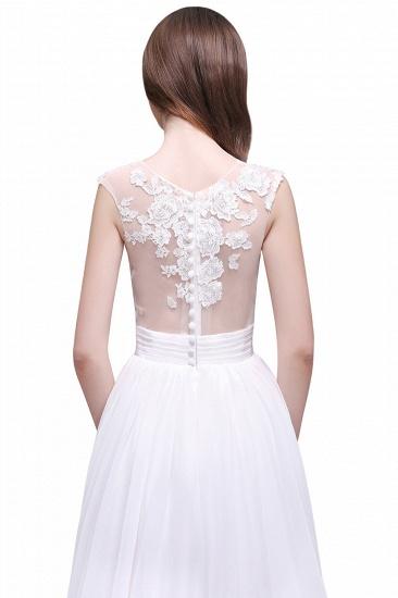BMbridal Elegant White Sheer Lace Chiffon Beach Wedding Dress_7