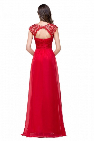 Affordable A-Line Jewel Red Chiffon Lace Bridesmaid Dress In Stock_5