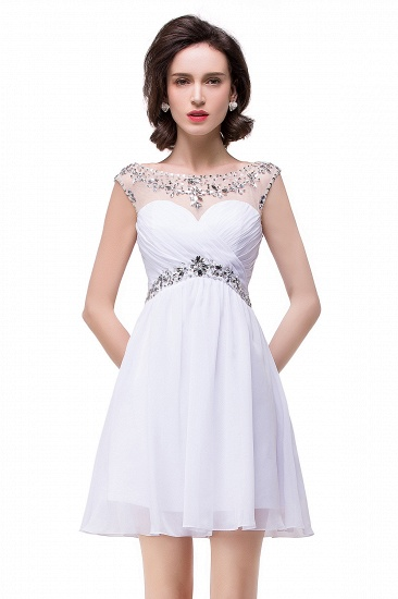 BMbridal A-line Jewel Chiffon Party Dress With Crystal_6