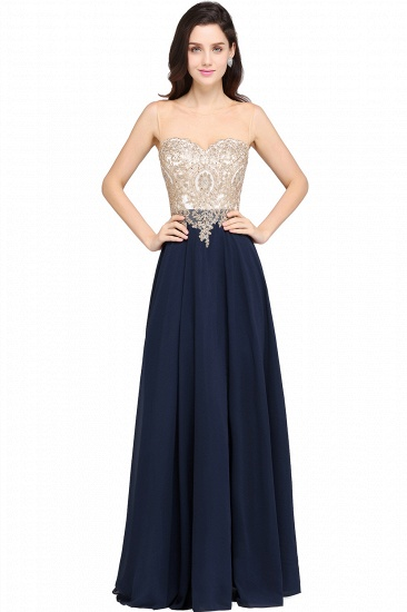BMbridal Sheer Tulle A-line Chiffon Beads Lace Appliques Sleeveless Long Evening Dress_3