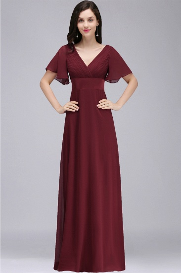 Cheap A-line Chiffon Burgundy Floor-length Bridesmaid Dress with Soft Pleats