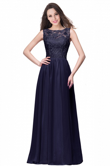 BMbridal Affordable A-line Chiffon Crew Lace Navy Long Bridesmaid Dresses In Stock_6
