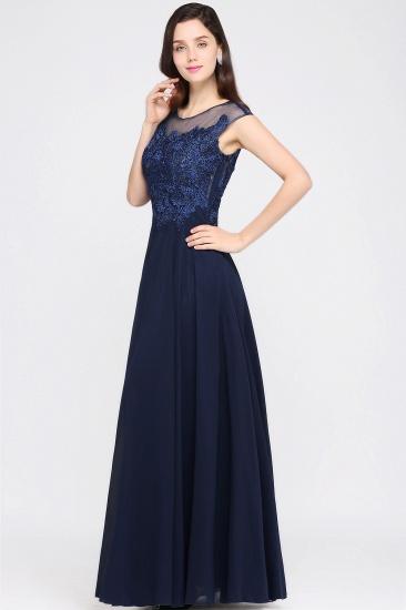 BMbridal Cap Sleeve Lace Appliques Long Chiffon Evening Dress_4