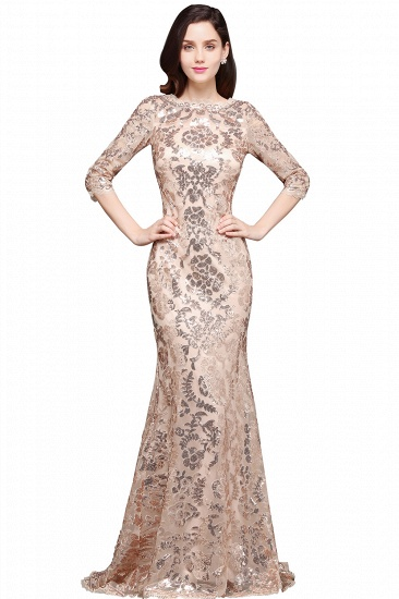 Gorgeous Long Sleeve Sequins Prom Dress Mermiad Long Evening Party Gowns_5