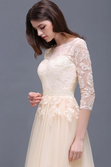 BMbridal Lace Appliques Split Long Tulle Prom Dress_8