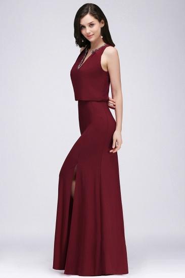 BMbridal Front-split Crystal Floor-length V-neck Sleeveless Burgundy A-line Evening Dress_5