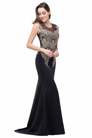 BMbridal Black Mermaid Long Prom Dress With Lace Appliques_12