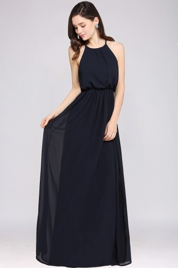 BMbridal Simple A-line Halter Navy Chiffon Long Bridesmaid Dresses In Stock_9