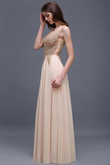BMbridal Elegant Sheer Lace Applique Chiffon Floor Length Long Evening Dress_5