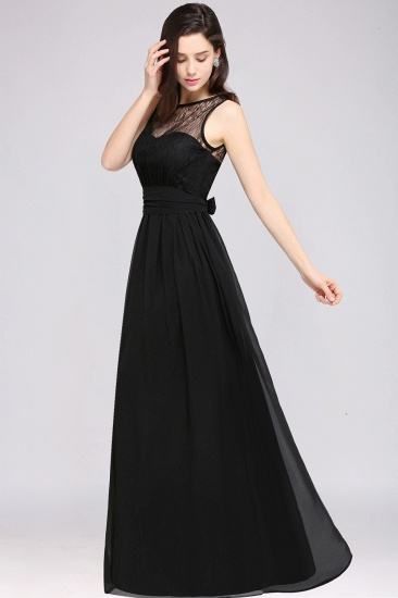 Sexy Black Chiffon Lace Long Cheap Bridesmaid Dresses In Stock_11