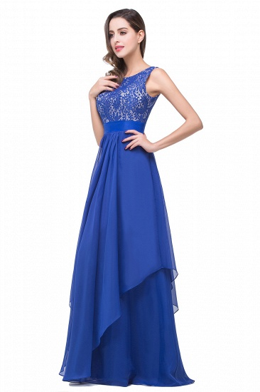 Exquisite A-line Chiffon Royal Blue Bridesmaid Dress with Lace In Stock_8