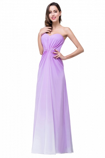 Gorgeous A-line Strapless Lilac Chiffon Bridesmaid Dress Cheap In Stock_8
