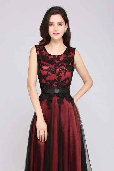 BMbridal Pretty Sleeveless Black Lace Tulle Floor Length Formal Evening Dress with Sash_6