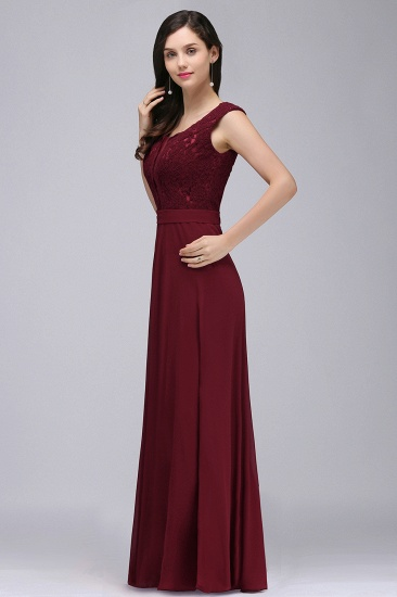 BMbridal Elegant Lace A-line Long Burgundy Prom Dress_9
