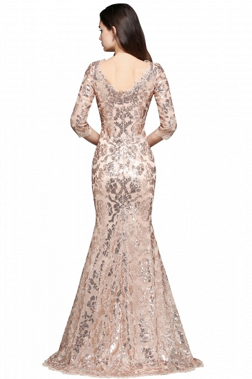 Gorgeous Long Sleeve Sequins Prom Dress Mermiad Long Evening Party Gowns_2