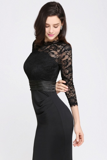 BMbridal Chic Sheath High Neck Black Bridesmaid Dress with Lace In Stock_9