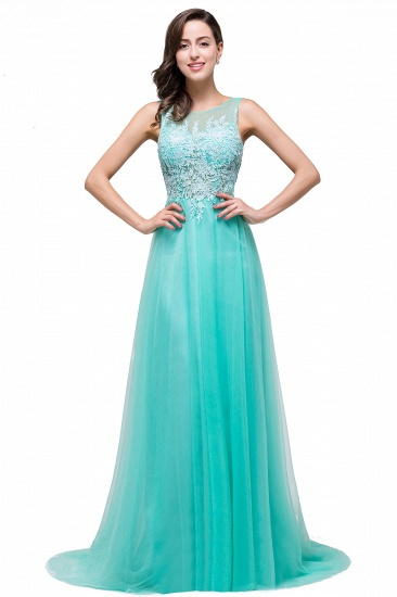 BMbridal A-line Court Train Tulle Evening Dress with Appliques_9