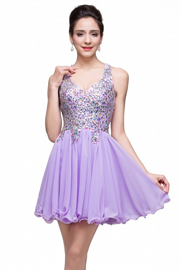 BMbridal Chic Crisscross-straps Crystal Beads Ruffle Chiffon Sweetheart Short Prom Dress_14