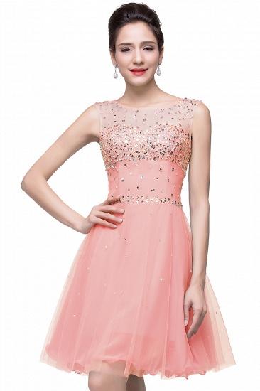 BMbridal Open Back Sleeveless Chiffon Homecoming Dress Crystal Beads Tulle Short Prom Dress_1