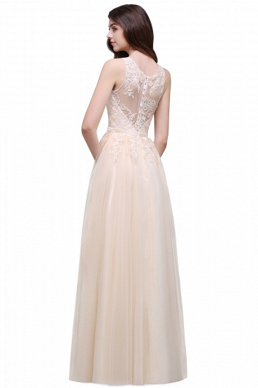 BMbridal Lace Sleeveless Long Tulle Prom Dress_7