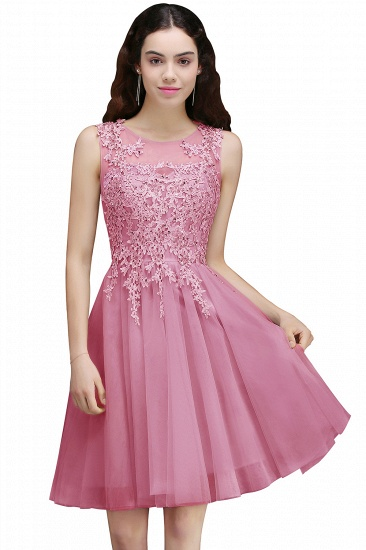 BMbridal Newest Lace Appliques Silver Jewel Sleeveless Short Homecoming Dress_1