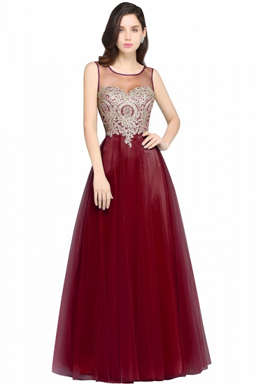 BMbridal Gorgeous Illussion Scoop Long Prom Dress With Lace Appliques_2