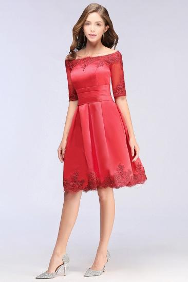 BMbridal Chic Half Sleeve Lace-up Off-shoulder Lace Appliques Short Prom Dress_9