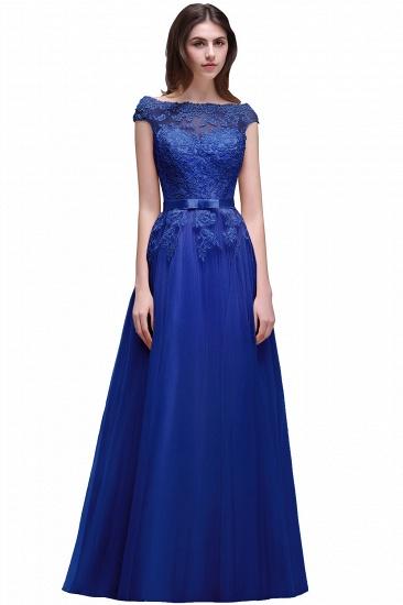 BMbridal Cap Sleeve Lace Appliques Long Evening Dress_4