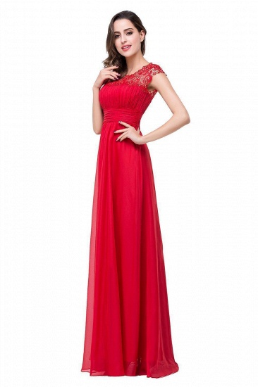 Affordable A-Line Jewel Red Chiffon Lace Bridesmaid Dress In Stock_7