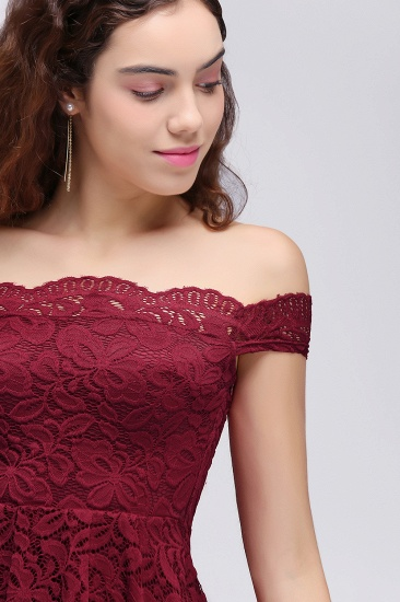 BMbridal A-Line Off-the-shoulder Short Burgundy Lace Homecoming Dress_6