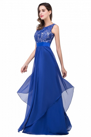 Exquisite A-line Chiffon Royal Blue Bridesmaid Dress with Lace In Stock_9