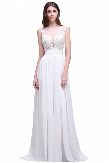 BMbridal Elegant White Sheer Lace Chiffon Beach Wedding Dress