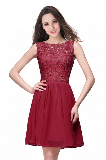 Affordable Chiffon Lace Short Bridesmaid Dresses with Ruffle In Stock_1